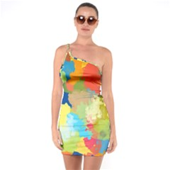 Summer Feeling Splash One Soulder Bodycon Dress