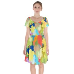 Summer Feeling Splash Short Sleeve Bardot Dress