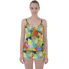 Summer Feeling Splash Tie Front Two Piece Tankini