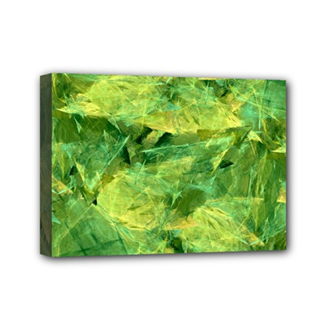 Green Springtime Leafs Mini Canvas 7  X 5