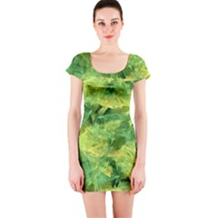 Green Springtime Leafs Short Sleeve Bodycon Dress