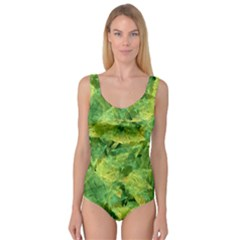 Green Springtime Leafs Princess Tank Leotard