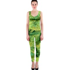Green Springtime Leafs Onepiece Catsuit