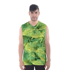 Green Springtime Leafs Men s Basketball Tank Top