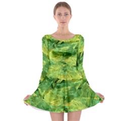 Green Springtime Leafs Long Sleeve Skater Dress