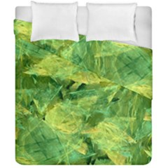 Green Springtime Leafs Duvet Cover Double Side (california King Size)