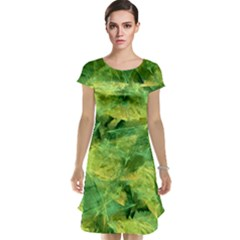 Green Springtime Leafs Cap Sleeve Nightdress
