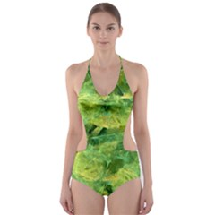 Green Springtime Leafs Cut Out One Piece Swimsuit