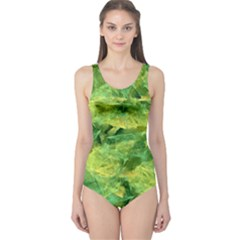 Green Springtime Leafs One Piece Swimsuit