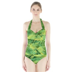 Green Springtime Leafs Halter Swimsuit