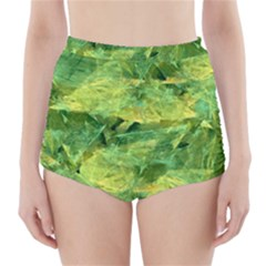 Green Springtime Leafs High Waisted Bikini Bottoms