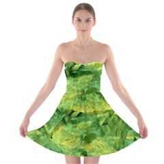 Green Springtime Leafs Strapless Bra Top Dress