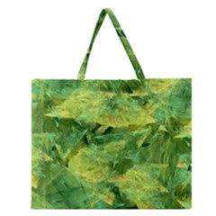 Green Springtime Leafs Zipper Large Tote Bag