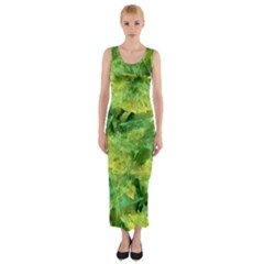 Green Springtime Leafs Fitted Maxi Dress