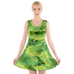 Green Springtime Leafs V Neck Sleeveless Skater Dress