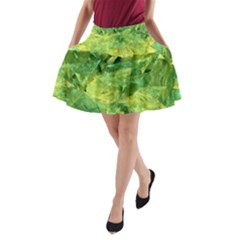 Green Springtime Leafs A Line Pocket Skirt