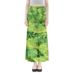 Green Springtime Leafs Full Length Maxi Skirt