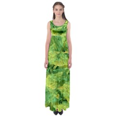 Green Springtime Leafs Empire Waist Maxi Dress