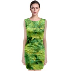 Green Springtime Leafs Classic Sleeveless Midi Dress
