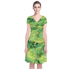 Green Springtime Leafs Short Sleeve Front Wrap Dress