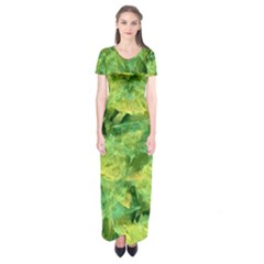 Green Springtime Leafs Short Sleeve Maxi Dress
