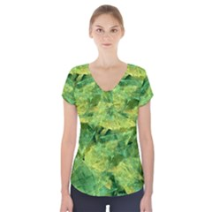 Green Springtime Leafs Short Sleeve Front Detail Top