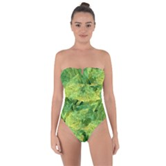 Green Springtime Leafs Tie Back One Piece Swimsuit