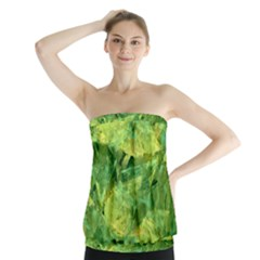 Green Springtime Leafs Strapless Top