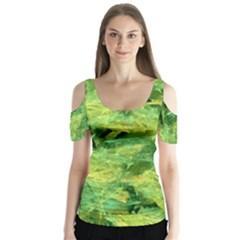 Green Springtime Leafs Butterfly Sleeve Cutout Tee
