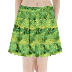 Green Springtime Leafs Pleated Mini Skirt