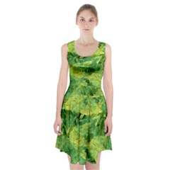 Green Springtime Leafs Racerback Midi Dress