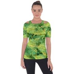 Green Springtime Leafs Short Sleeve Top