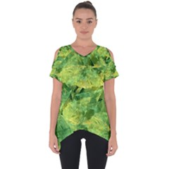 Green Springtime Leafs Cut Out Side Drop Tee