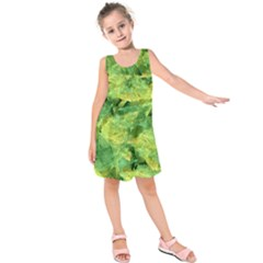 Green Springtime Leafs Kids  Sleeveless Dress