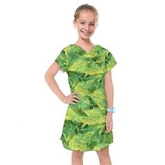 Green Springtime Leafs Kids  Drop Waist Dress