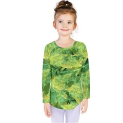 Green Springtime Leafs Kids  Long Sleeve Tee