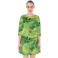 Green Springtime Leafs Smock Dress
