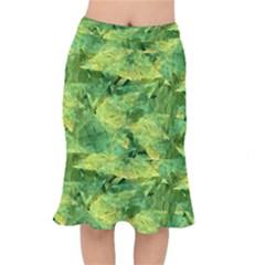 Green Springtime Leafs Mermaid Skirt