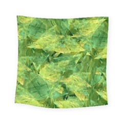 Green Springtime Leafs Square Tapestry (small)
