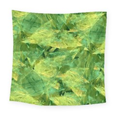 Green Springtime Leafs Square Tapestry (large)