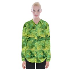 Green Springtime Leafs Womens Long Sleeve Shirt