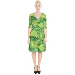 Green Springtime Leafs Wrap Up Cocktail Dress