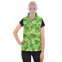 Green Springtime Leafs Women s Button Up Puffer Vest