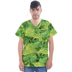 Green Springtime Leafs Men s V Neck Scrub Top