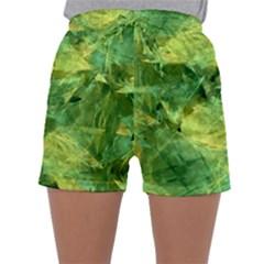 Green Springtime Leafs Sleepwear Shorts