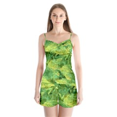 Green Springtime Leafs Satin Pajamas Set