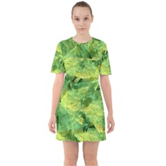 Green Springtime Leafs Mini Dress