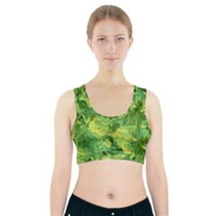 Green Springtime Leafs Sports Bra With Pocket