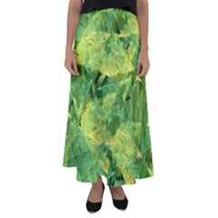 Green Springtime Leafs Flared Maxi Skirt