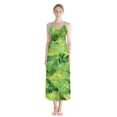 Green Springtime Leafs Button Up Chiffon Maxi Dress